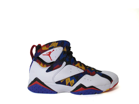 "Air Jordan 7 Retro White/Unvrsrty Rd-Blk-Brght Cnc ""Nothing but Net Sweater"" 304775-142"