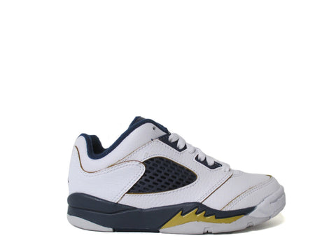"Air Jordan 5 Retro Low (PS) Pre-School White/Midnight Navy-Mtllc Gold ""DUNK FROM ABOVE"" 314339-135"