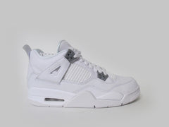 "Air Jordan 4 Retro (GS) Grade School White/Metallic Silver ""Pure Money"" 408452-100"