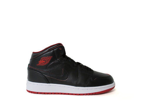 Air Jordan 1 Mid Black/Black-White-Gym Red 554725-028