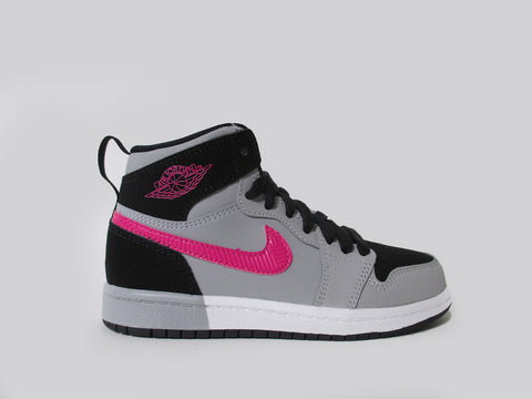 Air Jordan 1 Retro High (PS) Pre-School Black/Deadly Pink-Wolf Grey 705321-010