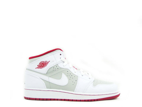 "Air Jordan 1 Mid WB BG (GS) Grade School White/True Red-Lght Silver-Blk ""HARE"" 719554-123"