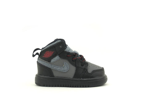 Air Jordan 1 Mid Flex (TD) Toddler Black/Gym Red-Cool Grey 554727-004