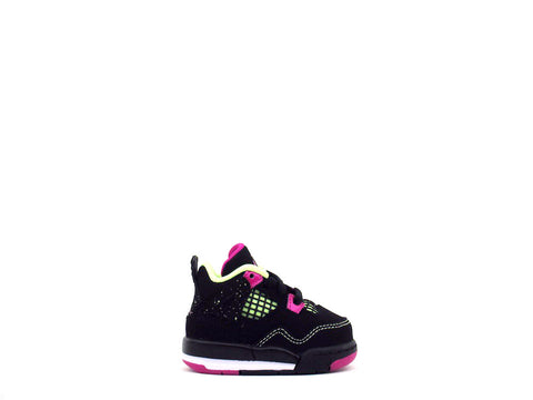 Air Jordan 4 Retro (TD) Toddler Black/Fuchsia Flash-Lqd Lm-Wht 705345-027