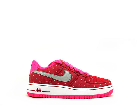 "Nike Air Force 1 Low (GS) Grade School Drk Rd/Mttlc Slvr-Pnk Pw-White ""VALENTINES DAY"" 314219-603"