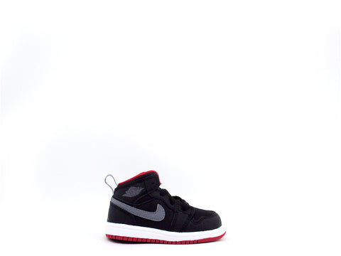 Air Jordan 1 Mid BT (TD) Toddler Black/Cool Grey-Gym Red 640735-034