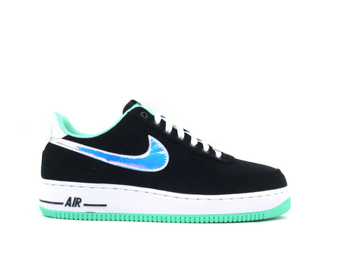 Nike Air Force 1 One Low Black/Shiny Silver-Green Glow 488298-080