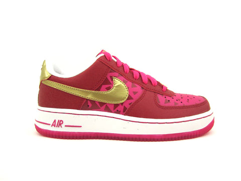 "Nike Air Force 1 Low (GS) Grade School Gym Rd/Mtllc Gld-Vvd Pnk-White ""VALENTINES 2014"" 314219-601"