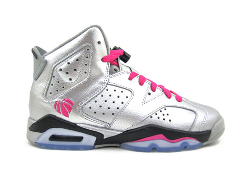 "Air Jordan 6 Retro (GS) Grade-School Metallic Silver/Vvd Pink-Blck ""VALENTINE'S DAY"" 543390-009"