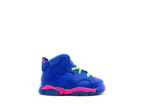 Air Jordan 6 Retro (TD) Toddler Gm Ryl/Wht-Vvd Pnk-Lt Lcd Grn 384667-439