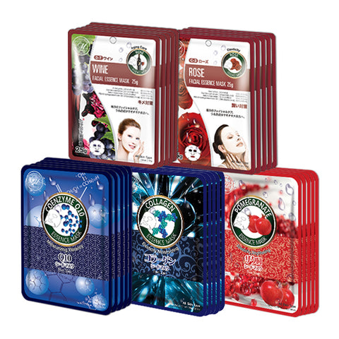 MITOMO Trial Set Moisturizing Care Face Mask Sheet: 5types*5pcs=25packs