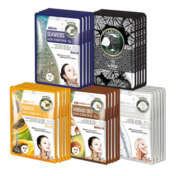 MITOMO Trial Set Cleansing Care Face Mask Sheet: 5types*5pcs=25packs