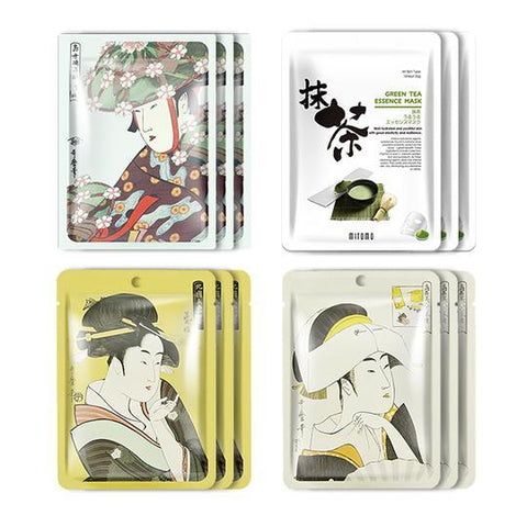 MITOMO JP UKIYOE trial set Type A Face Mask Sheet: 4types 12packs