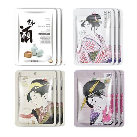 MITOMO JP UKIYOE trial set Type B Face Mask Sheet: 4types 12packs