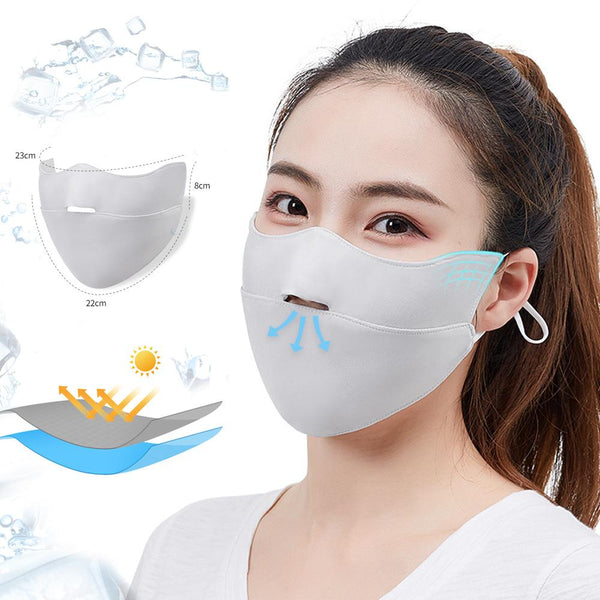 [MPHA00004] MEIPENG Ice Silk Face Mask for Women in Summer Sunscreen UV Proof Breathable Mask