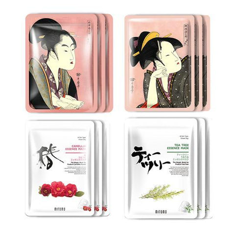 MITOMO JP UKIYOE trial set Type D Face Mask Sheet: 4types 12packs