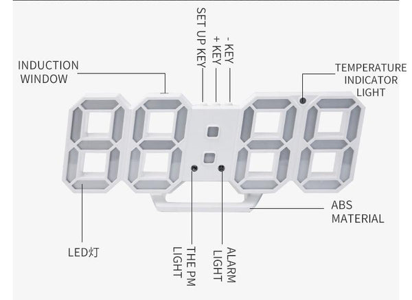 [MPEA00011] MEIPENG Korean 3dled digital clock living room wall clock new electronic clock alarm clock 3D stereo clock