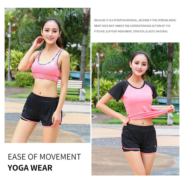 [MPFA00004] MEIPENG yoga wear suit  women spring and summer new style loose short-sleeved quick-drying clothes gym professional running sports suit women
