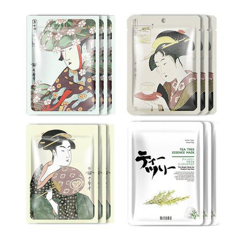 MITOMO JP UKIYOE trial set Type F Face Mask Sheet: 4types 12packs