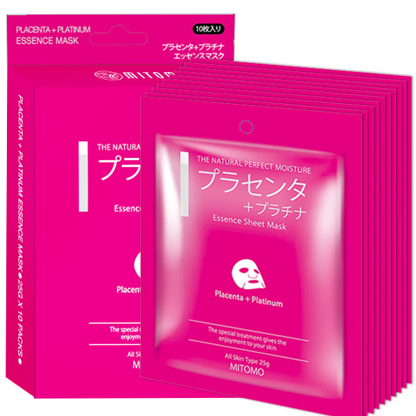 MITOMO Placenta + Platinum Vibrancy Soothing Facial Essence Mask MC001-A-4