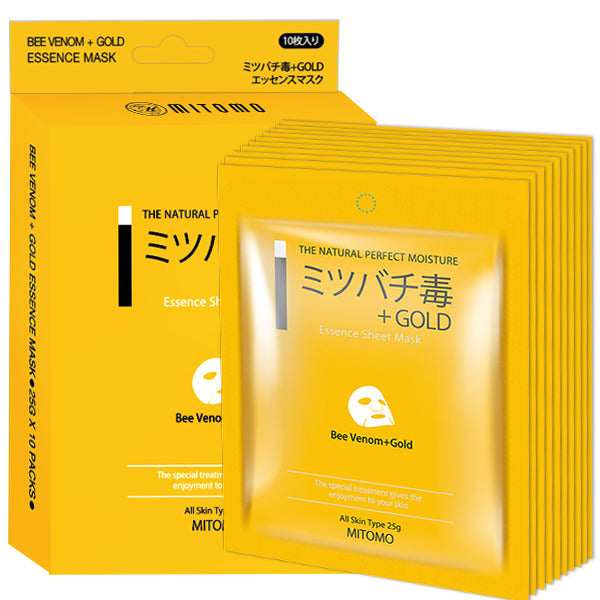 Mitomo Bee venom + Gold Sensitive Skin Cleaning Measures Facial Essence Mask MC001-A-5