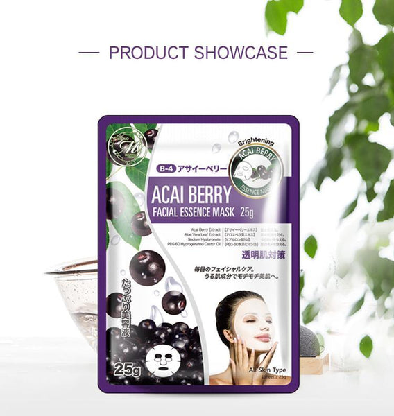 MITOMO Natural Acai Berry Brightening Facial Essence Mask MT512-B-4