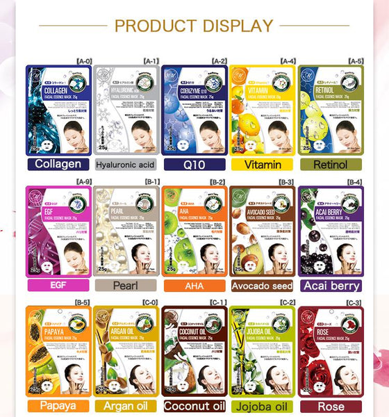MITOMO Japan Recommended MT512 Series Wholesale Starter Kit Facial Essence Mask [25 Items][2 Pieces/Item][Total 50 Pieces]
