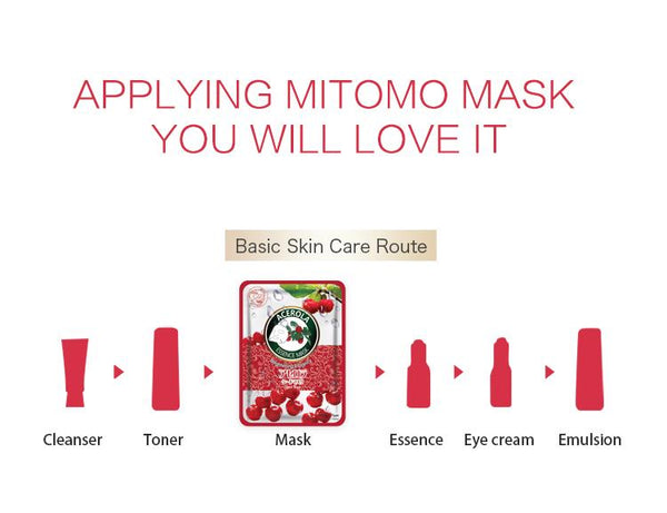 MITOMO Natural Acerola Elasticity Brightening Facial Essence Mask MT612-B-4