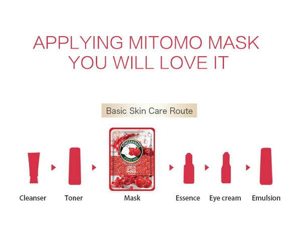 MITOMO Natural Pomegranate Brightening Vibrancy Facial Essence Mask MT612-B-6