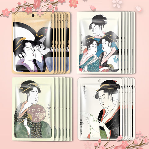 [TKJP00512-03-024]MITOMO Type 3 [JP UKIYOE trial set 24 sheets] Beautiful skin face mask - Made in Japan - Best gift to moisturize your skin.