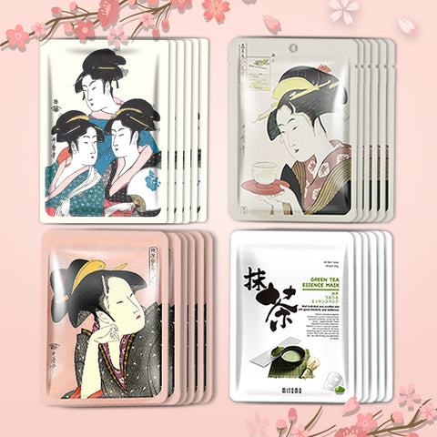 [TKJP00512-07-024]MITOMO Type 7 [JP UKIYOE trial set 24 sheets] Beautiful skin face mask - Made in Japan - Best gift to moisturize your skin.