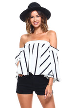Load image into Gallery viewer, Women's Chic Vertical Striped Off Shoulder Blouse