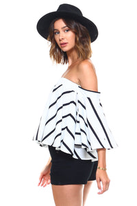 Women's Chic Vertical Striped Off Shoulder Blouse