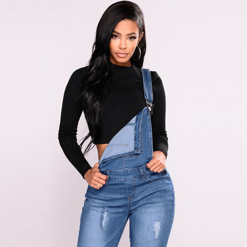 LOGAN Distressed Denim Overall