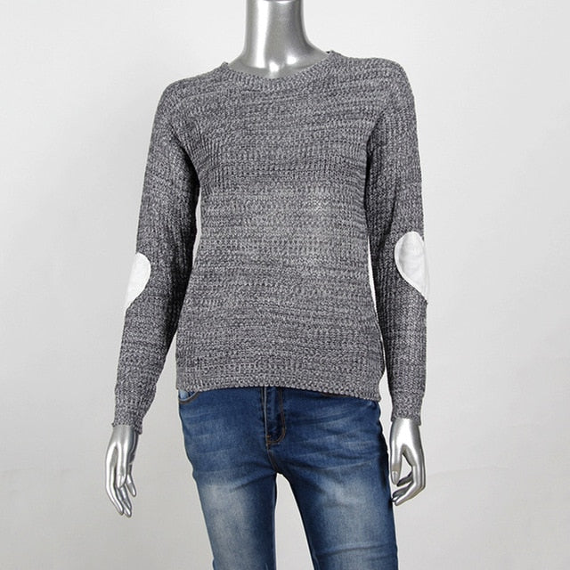 LIZZY Knit Sweater with Heart Elbow Patch