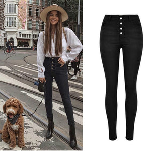 SLATE High Waist Button Fly Skinny Stretch Jeans