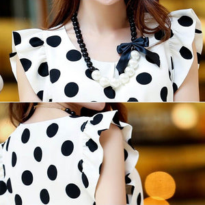 FREYA Polka Dot Ruffle Sleeve Top