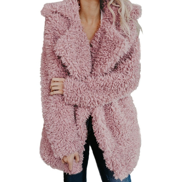 RILEY Faux Fur Lapel Coat