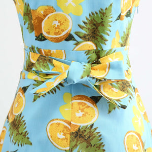 LILLIAN Lemon Print V Neck Dress