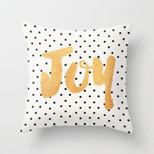 Joy - Polka dots and gold Pillow