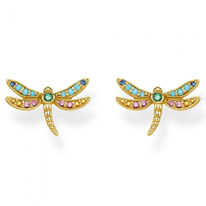 Thomas Sabo Gold Dragonfly Stud Earrings H2051-315-7