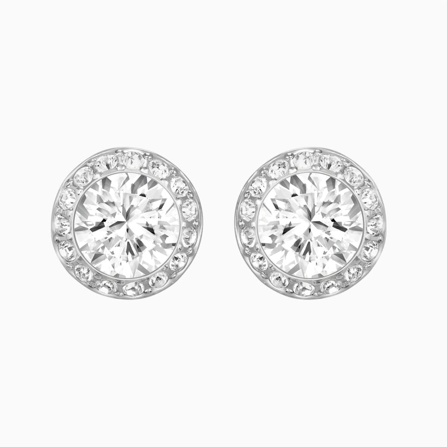 ANGELIC PIERCED EARRINGS, WHITE, RHODIUM PLATED 1081942