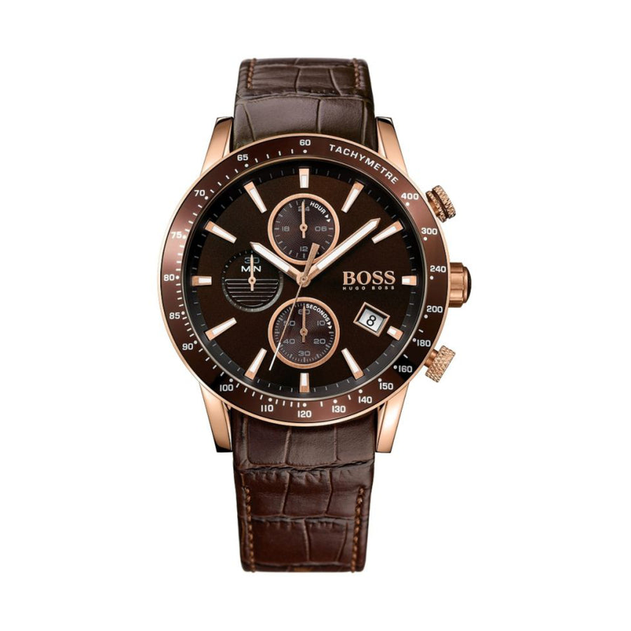 Hugo Boss Gents Rafale Chronograph Brown Dial Leather Strap Quartz Watch 1513392