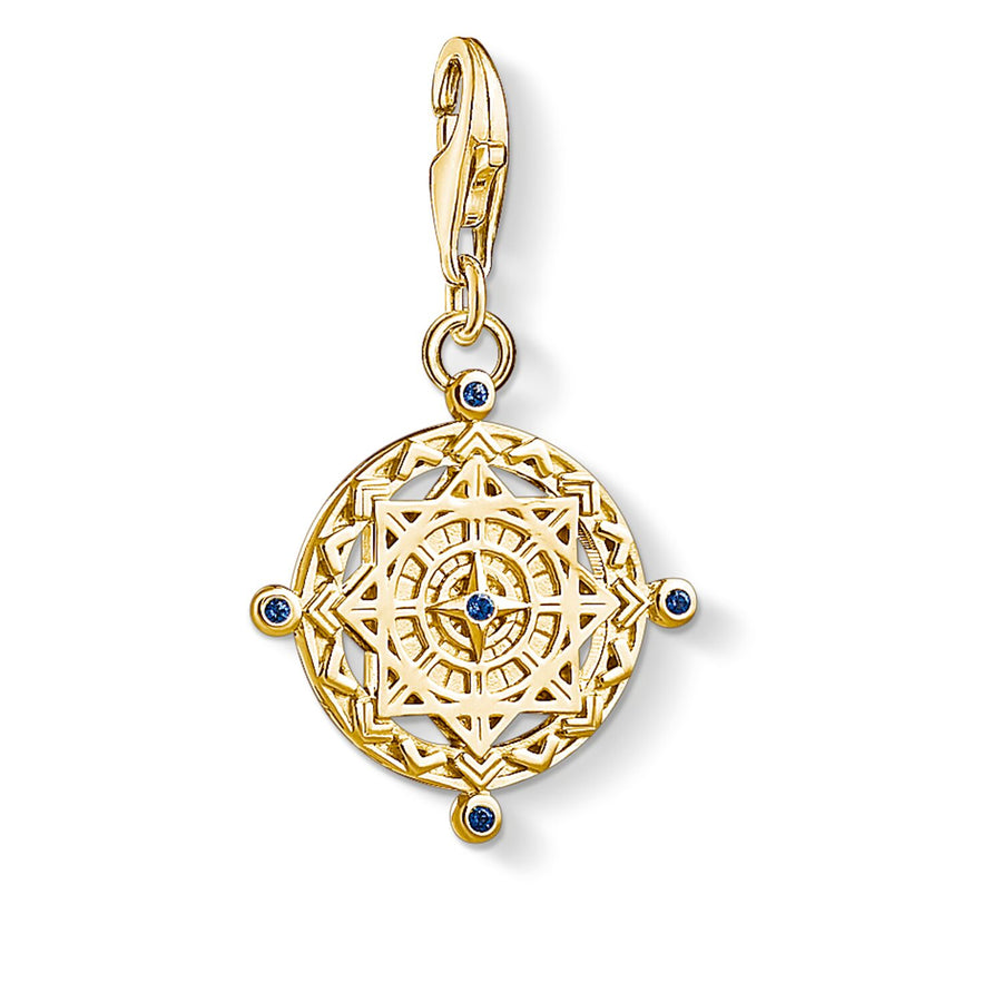 "Thomas Sabo Charm pendant ""Vintage compass""1662-922-39  925 Sterling silver, gold plated yellow gold/ synthetic spinel, yellow gold-coloured"