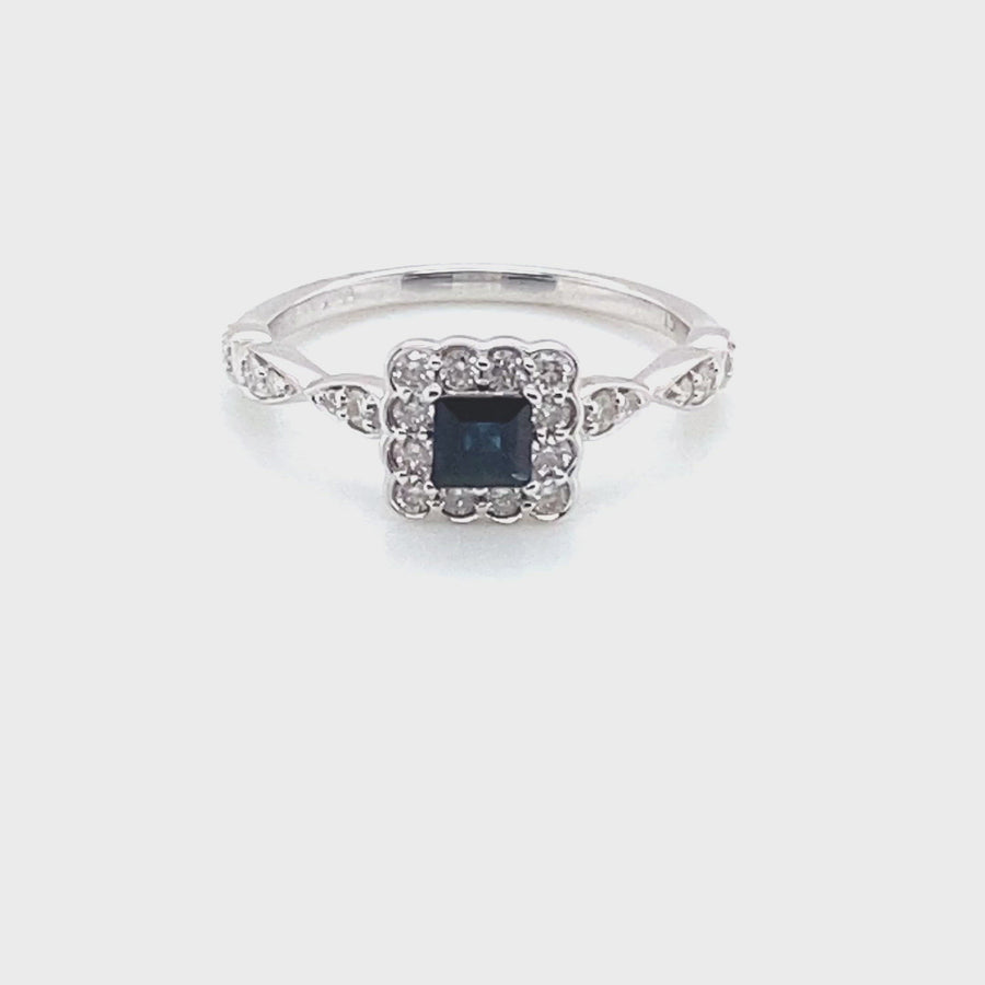 9ct Sapphire and Diamond  Princess shaped halo stone Ring 9072R070S-9Y