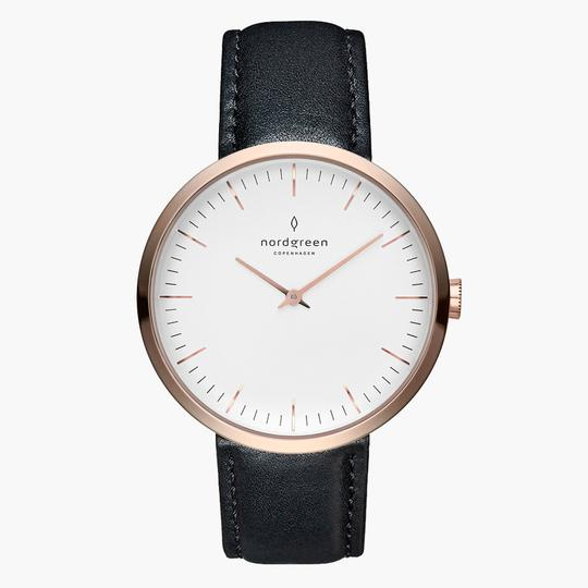 Nordgreen Rose Gold Case Infinity Watch: White Dial and Pink Leather Strap IN32RGVEBLXX