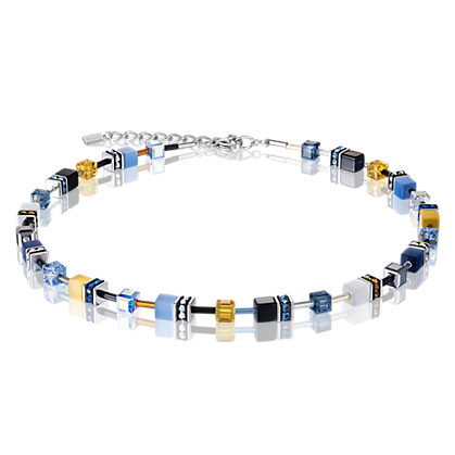 Coeur de Lion GeoCube Blue Yellow Necklace 2838100701