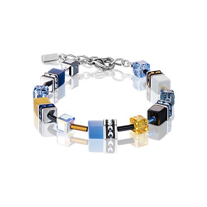 Coeur de Lion GeoCube Blue and Yellow Bracelet 2838300701
