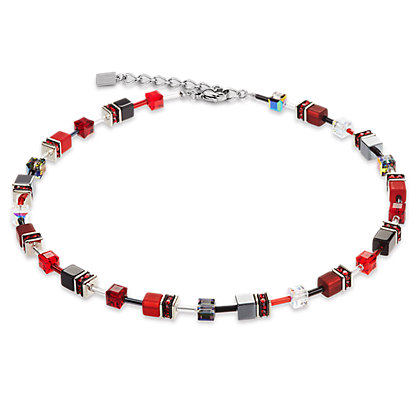 Coeur de Lion GeoCube Red-Haematite Necklace 4014100312