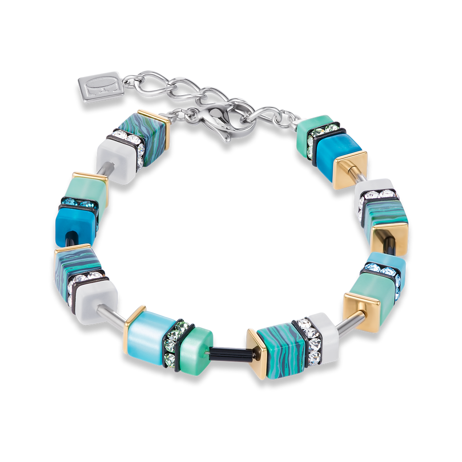 Coeur de Lion GeoCube Turquoise Green and Silver Bracelet 4746300605